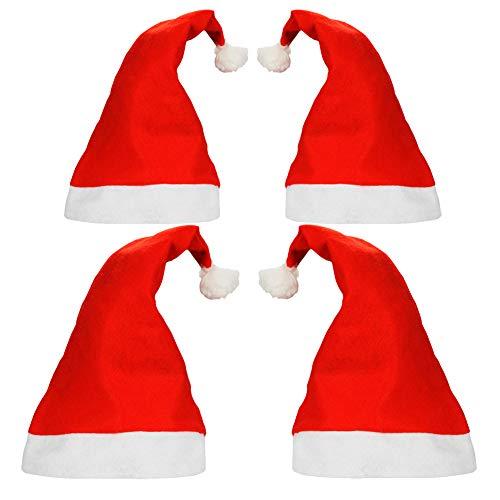 nachtsmützen für Weihnachts Santa Kostüm Einkaufszentrum Förderung Weihnachtsmarkt Weihnachtsmann Mütze (2X Groß für Erwachsene & 2X Klein für Kinder) ()