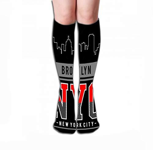 Calze Alte Compression Socks Women Knee High or Men - Best Stockings for Running, Medical,19.7'(50cm) Design Typography Brooklyn New York City Print Men Design Typography Brooklyn New York City