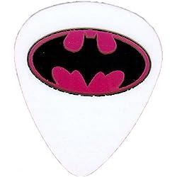 """Unique et personnalisé """".76mm d'épaisseur-Tirant medium Plastique rigide-Pointe ronde"""" médiator de guitare avec DC Comics Batman Logo {Blanc, Rose Et Noir-Unique Pick}"""
