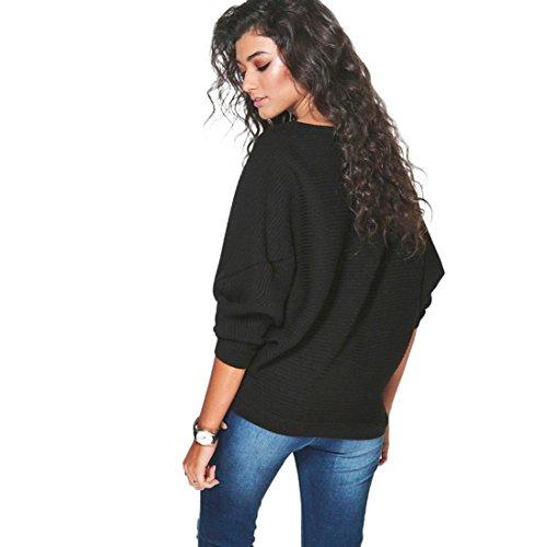 Transer ® Pull Femme,Femmes filles Batwing manchon tricoté lâche pull chasuble Noir
