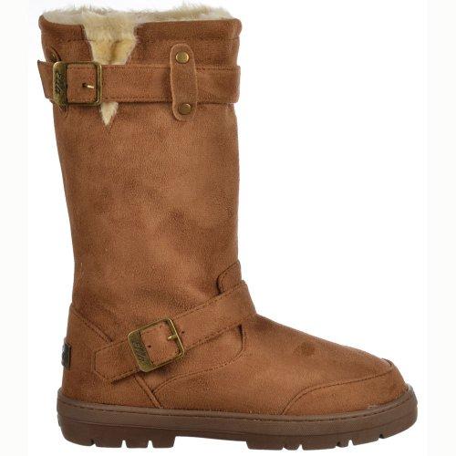 Femmes de dames Ella Biker fourrure doublé plat d'hiver de neige Boot - Chestnut Brown, noir, brun foncé, gris