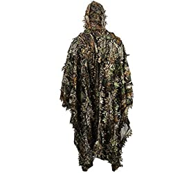 Ballylelly Lifelike 3D Leaves Camouflage Poncho Manteau Furtif Costumes Outdoor Woodland CS Jeu Vêtements pour Chasse Tir
