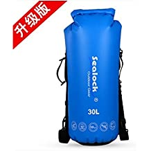 Sealock 20L,30L,45L,63L Inflatable Waterproof Dry Bags with two shoulder strap and inflatable device For Kayaking, Camping, Boating, Rafting, Hiking,Snowboarding Skiing and Fishing T05301 (30L, Blue)