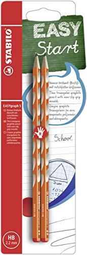 Matita Ergonomica triangolare Sottile - STABILO EASYgraph S per Destrimani in Arancione - Pack da 2 - Gradazione HB