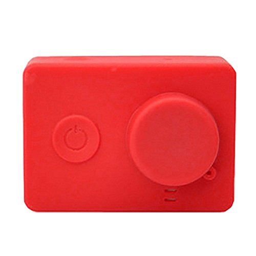 Preisvergleich Produktbild Weiche Silikon-Kasten-Haut mit Objektivabdeckung für XIAOMI Yi-Action-Kamera Rot