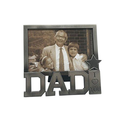 """Luoem - cornice con scritta in inglese """"i love you dad"""", classica, idea regalo per festa del papà, compleanno"""