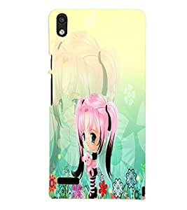 PrintVisa Cute Cartoon Girl 3D Hard Polycarbonate Designer Back Case Cover for Huawei Acend P6