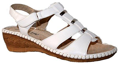 Damen Cushion Walk leicht Sommer Slingback Keil Heel Comfort Sandale Weiß