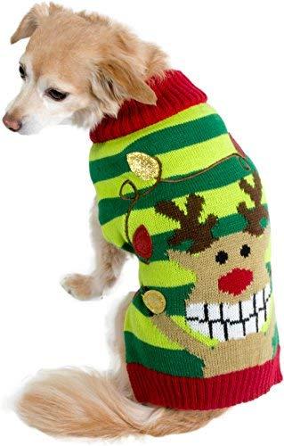 Unbekannt Cozy Hund Knit Pullover Hoodie Winter Furry Streifen Kleidung Urlaub, Bekleidung, Large, Reindeer Red Green - Ziel Unbekannt Kostüm