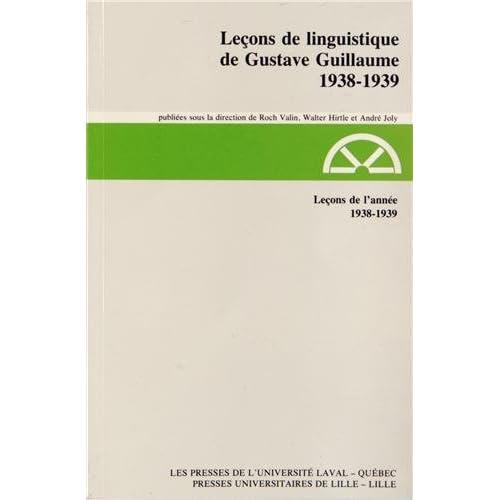 Leçons de l'année 1938-1939