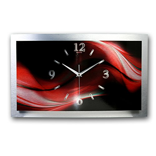 Kreative Feder 3D Abstrakt Designer leise Funk Wanduhr Funkuhr modernes Design * Made in Germany* WAA008FL