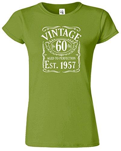 Vintage Est 1956 Damen 60. Jahr T Shirt Geburtstags Geschenk Kiwi / Weiß Design