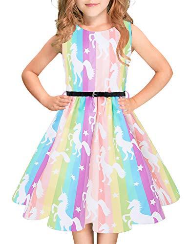 Idgreatim Mädchen Aermellos O-Ausschnitt Audrey 1950er Jahre Vintage Swing Prinzessin Party Kleid für