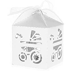 kingken ca. 50Kleine Geschenke Baby Dusche Hohl Kutsche Muster Papier Candy, Geschenk-Boxen 5*5*8cm weiß
