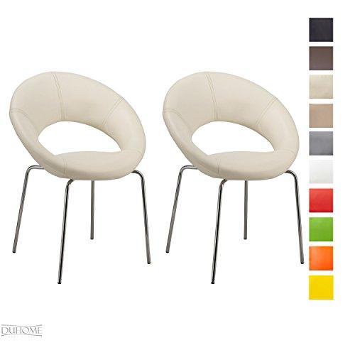 2x Konferenzstuhl Esszimmerstuhl WEISS Besucherstuhl Beistellstuhl aus Kunstleder Stuhl Farbauswahl TYP - 679M