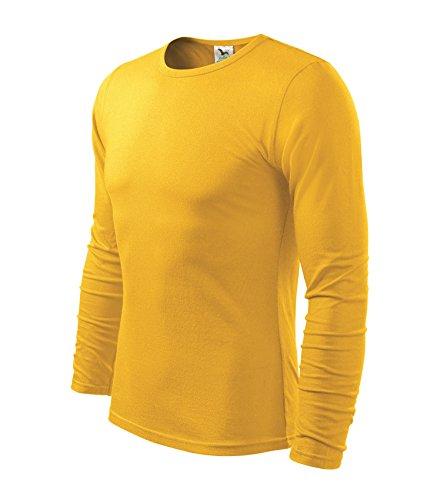 Herren Langarmshirt 100% Baumwolle T-Shirt Marke Adler - Größe und Farbe wählbar - (M, gelb) (Adler T-shirt)