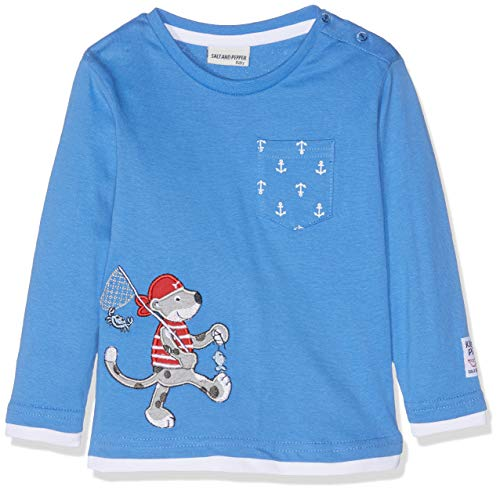 SALT AND PEPPER Baby-Jungen B Longsleeve Pirat Uni 2in1 Langarmshirt, Blau (Strong Blue 465), 68 (Piraten-baby)