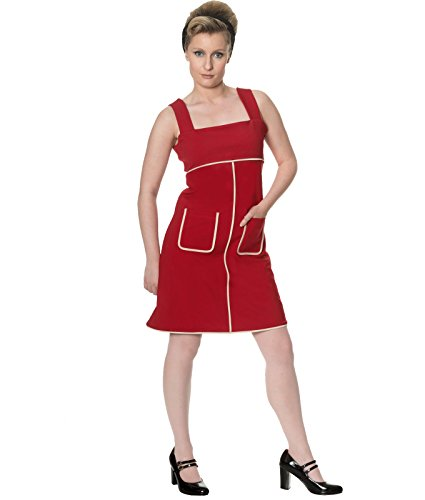 Dancing Days 60s Style Studio 64 Court Mini Robe Jersey Noir Rouge Rouge