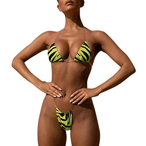 Geraffte Zebra (Baiomawzh Bikini Set Damen Badeanzug Sexy Neckholder Transparenter Dreipunkt Zebra Druck Bikinioberteil Mit Bikinihose Zweiteiliger Strandurlaub Verführerischer UV Schutz Slip Bademode)