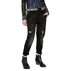Desigual Camel Friend Boyfriend Jeans Azul Black Denim 5009 W31 para Mujer