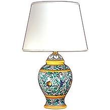 Lume in ceramica di Caltagirone decorato a mano, lampada da tavolo artistica