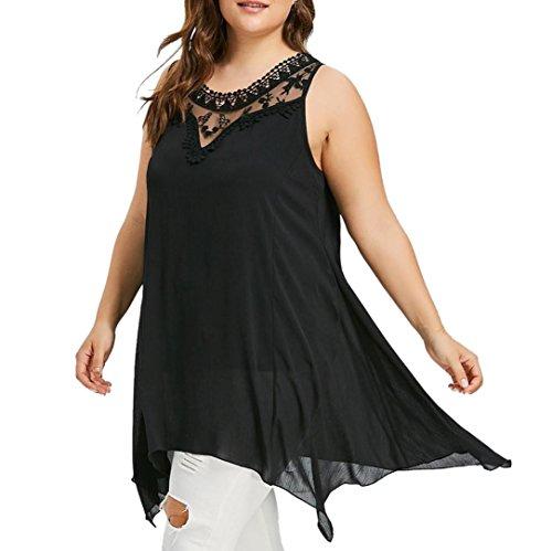 VEMOW Sommer Elegante Damen Mädchen Frauen Plus Size Spitze Sleeveless Asymmetrische Beiläufige Arbeit Strand Top Oansatz Weste Bluse Pullover Tees(Schwarz, 58 DE / 5XL CN)