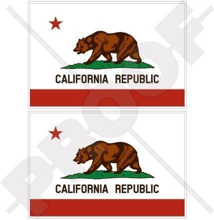 CALIFORNIA Kalifornien Staats Bärn Flagge USA Amerika 100mm Auto & Motorrad Aufkleber, x2 Vinyl Stickers