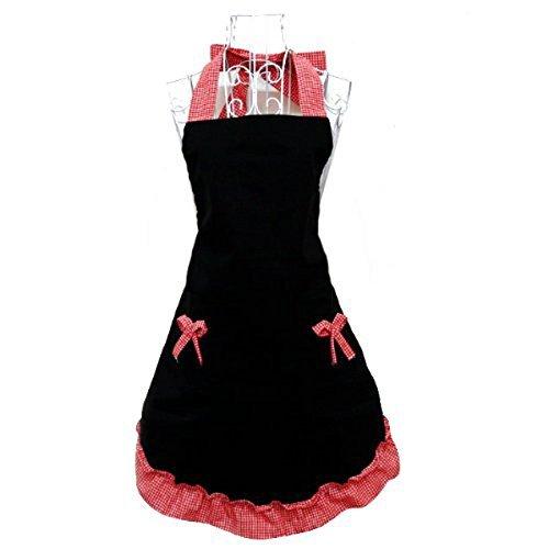 Miya® süße Prinzessin rot Küche Schürze Grillschürze mit rot süß Schleife und Taschen aus Baumwolle, süßes Gechenk für Mutter, Frau, Freundin, Tochter, Schwester usw. (Mutter Schürze)