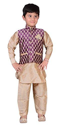 Indian Jungen Sherwani kinder Kurta Churidar Kameez für Bollywood-thema & party Kostüm hochzeit UK 873 (2 ( 2 jahre ), Wein & Hellgold) - Wein Mit Gold, 5 ( 5 (Für Männer Kostüme Bollywood)
