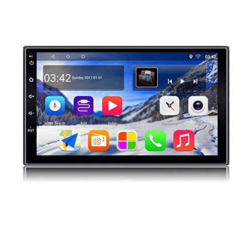 KX018 Android 7.1 Car Stereo GPS Navigation Auto Radio AM/FM 2 Din Head Unit 1GB RAM 16GB ROM Mirror Link Steering Wheel Control BT Wi-Fi Audio Player USB Port 7 Inch Touch Screen (Einem Video-spiel In Gefangen)