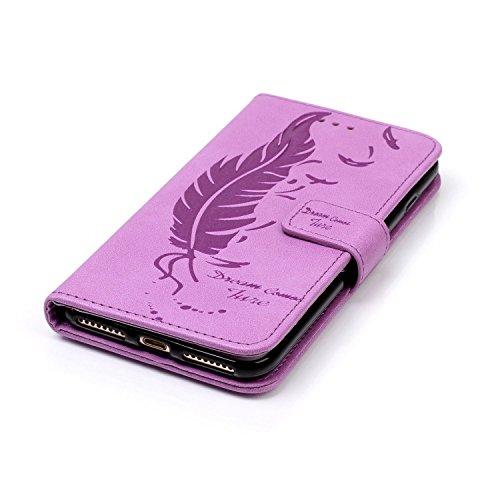 iPhone 7 Plus Leder Butterfly Hülle,iPhone 7 Plus Lanyard Wallet Schutzhülle,JAWSEU Stylish Elegante Sonnenblume Retro/Vintage Strap Muster Pu Leather Flip Brieftasche Etui Taschen Magnetverschluss Bo Blatt,Lila