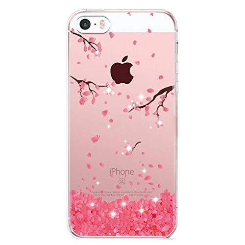 uposao Bling Bling iPhone 5S/SE Carcasa Multicolor Bling Bling brillantes TPU Carcasa...