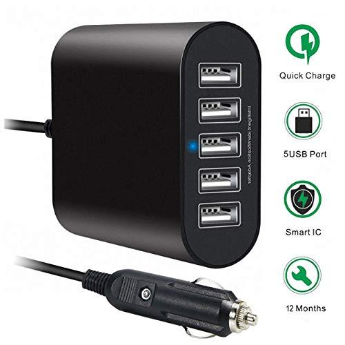 HUNDA Chargeur de Voiture, 45W 9A 5 Ports Rapide Chargeur de Voiture pour iPhone, iPad, Samsung, Téléphone Portable, Smartphone, Tablette PC, GPS et Plus