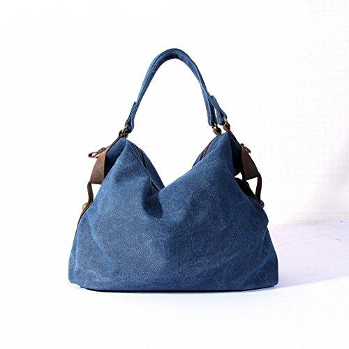 Meoaeo Eine Neue Feder Canvas Tasche Damentasche Navy Blue