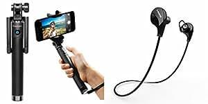 MIRZA Selfie Stick & Bluetooth Headset for MOTOROLA moto g turbo edition(Selfie Stick,Black Selfie Stick & AUX Selfie Stick & Jogger Sports Headset/GYM Headset/Bluetooth Headset)