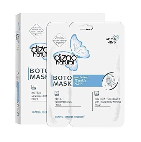 2 SCHRITTE FACIAL BOTOmask von DIZAO mit HYALURONIC WRINKLE FILLER (6 volle Blatt Gesicht, Hals, Augenlider Masken) Hydratation. Glättende Falten. 2 Schritt: BOTOgel mit Hyaluronic Filler. Beste Anti-Aging Feuchtigkeitsspendende. Best Value Spa Gesichts zu Hause