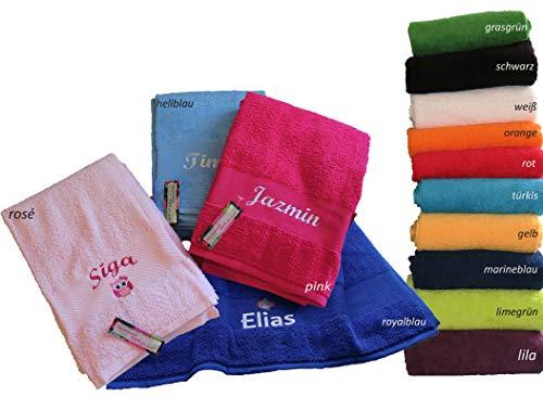 Handtuch 50x100cm mit Namen & Motiv bestickt (14 Farben zur Auswahl)