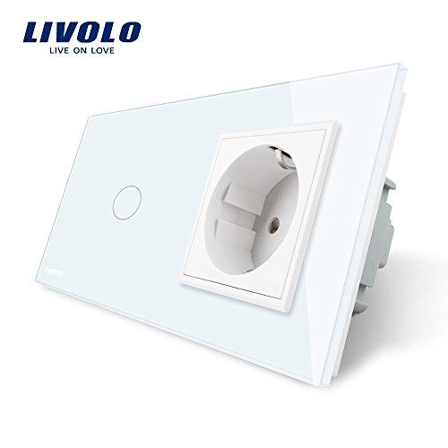 LIVOLO Weiss Lichtschalter mit Steckdose 1 Gang Wandsteckdosen mit LED Anzeige Licht Touch Sensor Panel aus Kristallglas EU Standard Schalter,VL-C701C1EU-11-A