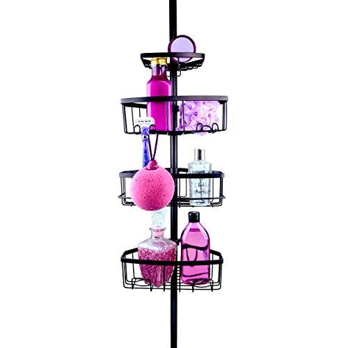 Zen Garden Premium Teleskop Duschregal - edles Eckregal für jede Dusche und Badewanne in matt schwarz - rostfrei - einfacher Aufbau ohne Bohren - perfekte Duschablage mit 4 Körben (matt schwarz)