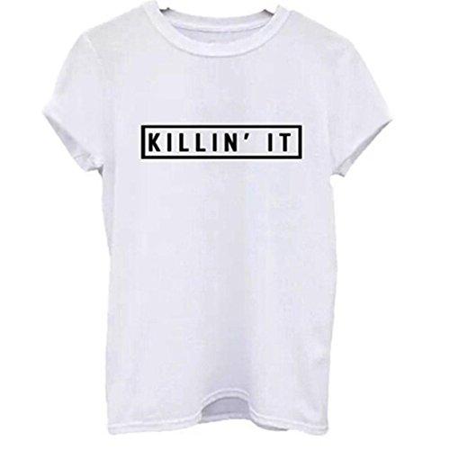 CYBERRY.M T-shirt Été Femme Casual Manches Courtes Lettre Imprimé Tee Blouse Chemise Top Blanc