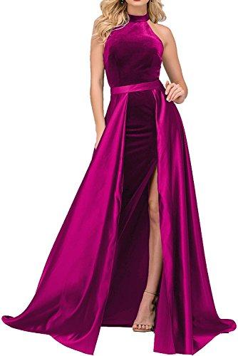 Milano Bride Navy Blau Langes Damen Abendkleider Ballkleider Abschlussballkleider Festlich damen Kleider beige Schlitze Fuchsia