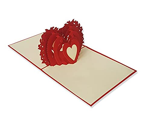 Yokarta 3D Pop-Up Cards | Wedding Card with Envelope | Wedding Party-Invitation | Happy Valentines Day Gift Card | Anniversary Greetings Cards | Thank You I love You Card | Save The Date Marriage Stationery | Handmade Kirigami Various Motives 1