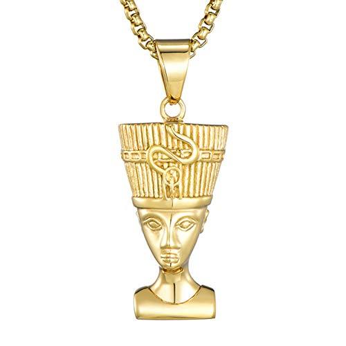 Qiulv Nofretete Hip Hop Anhänger Iced Edelstahl Portrait Goldkette Figur Mann Halskette Schmuck Hochzeitstag Familie Freund
