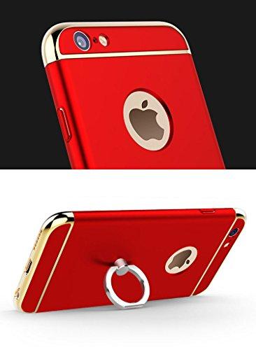 iPhone SE 5S 5 Housses,Housses et étuis téléphones portables, Besta® [Avec anneau Bracket]Ultra-mince 3 en 1 anti-rayures anti-empreintes digitales antichoc Résistez Cracking Electroplated Metal Textu Ring Kickstand/Red