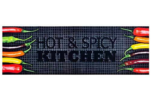 HOMEFACTO:RI Küchenläufer Küchenteppich Teppichläufer Läufer Hot & Spicy Chilli | waschbar, Größe:ca. 60 x 180 cm, Designs:Hot & Spicy Kitchen | schwarz