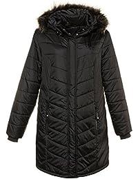 Ulla Popken Damen große Größen bis 58+   Funktionsjacke   lang, Kapuze, Zipper, Taschen   atmungsaktiv, Wind- & wasserabweisend   schwarz   713157