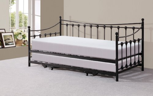 Memphis 3ft Single Day Bed with Trundle - Ivory or Black (Black)