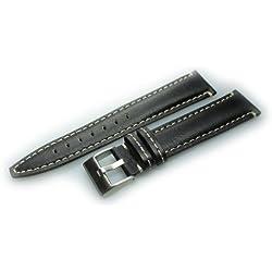 Herzog Uhrenband Torino Kalbleder Schwarz Bandanstoss 20 mm Medium