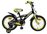 AMIGO - BMX Turbo - Bicicletta Bambini - 16'' (per 4-6 Anni) - con stabilizzanti - Nero/Giallo
