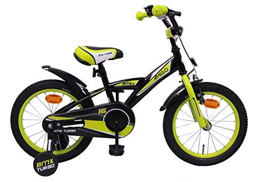 AMIGO BMX Turbo - Kinderfahrrad - 16 Zoll - Jungen - mit Rücktritt und Stützräder - ab 4 Jahre - Schwarz